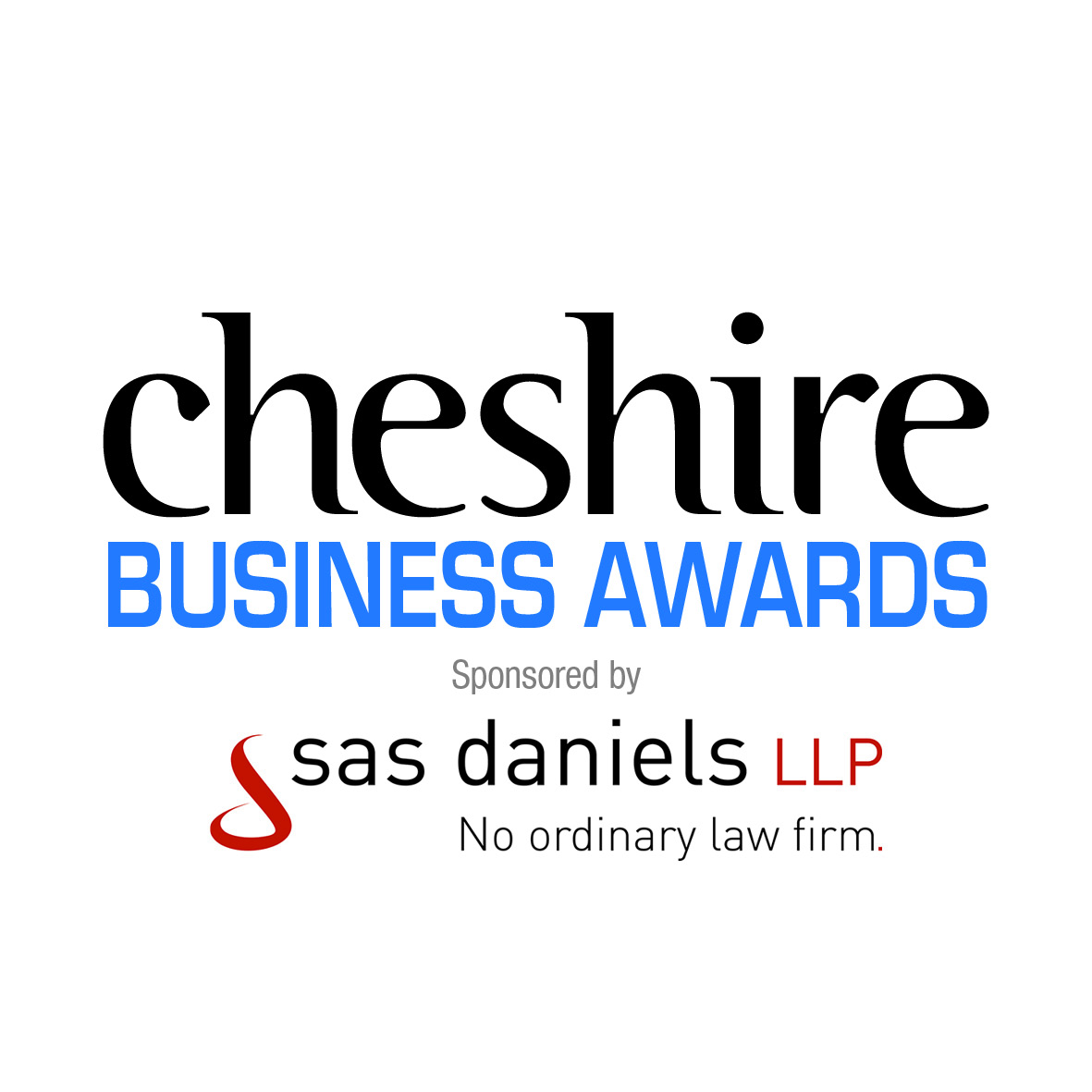 the logo for the Cheshire business awards sponsored by SAS Daniels LLP