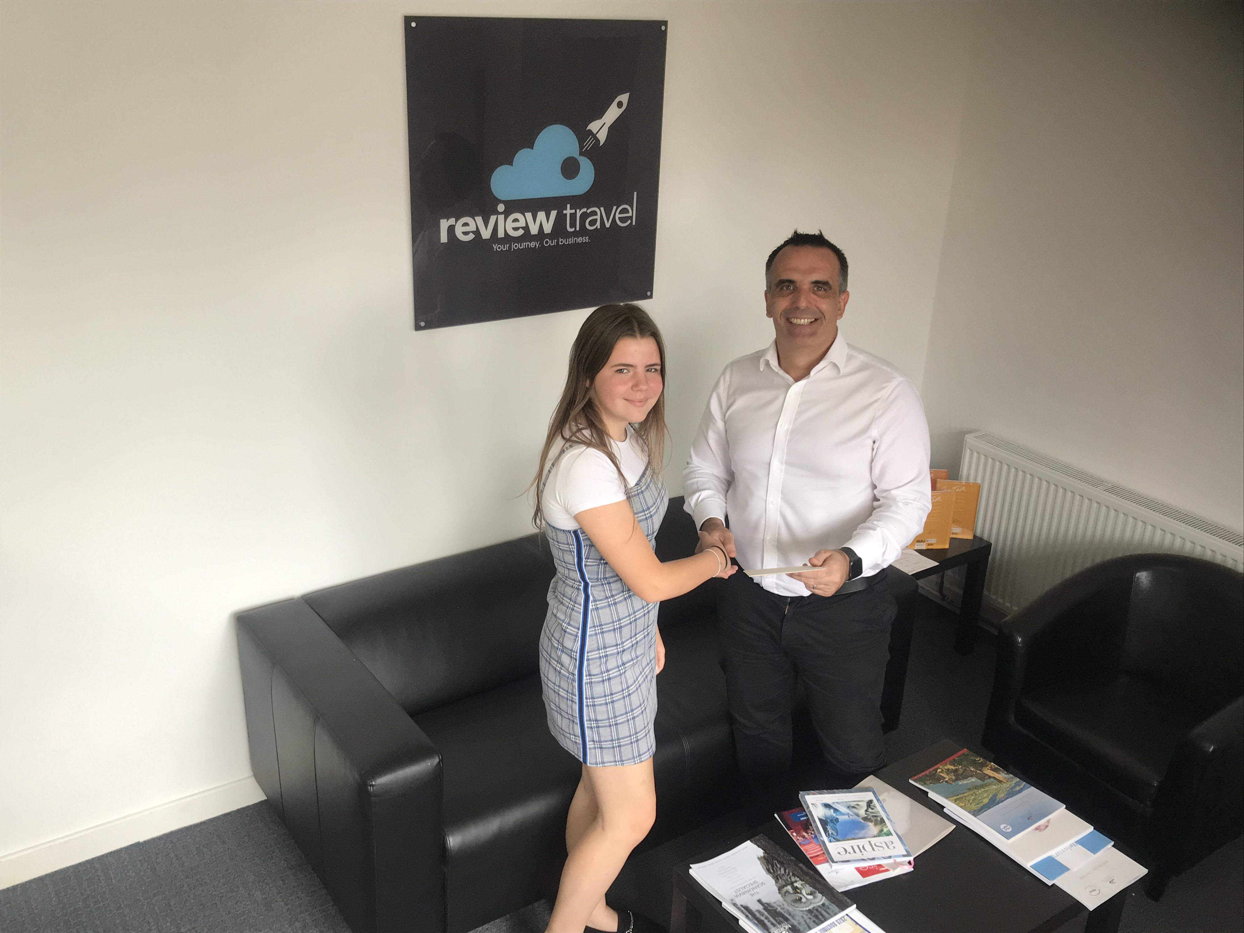 Review Travel CEO Christian Gleave and work experience student Freya